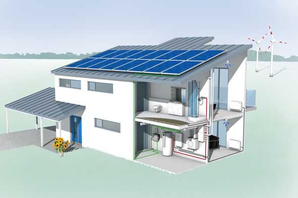 Gebäudequerschnitt mit Visualisierung der Leitungen für warmes und kaltes Wasser